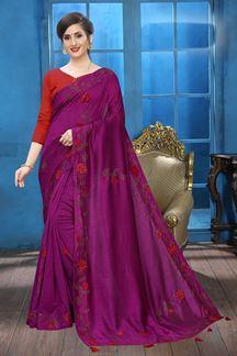 Picture of Wine Colored Designer Two-tone Silk Saree