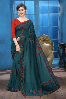 Picture of Peacock Blue Colored Designer Two-tone Silk Saree