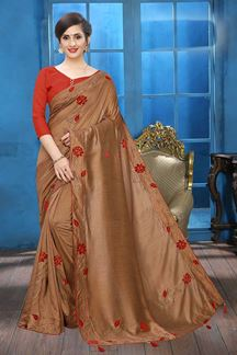 Picture of Dusty Peach Colored Designer Two-tone Silk Saree