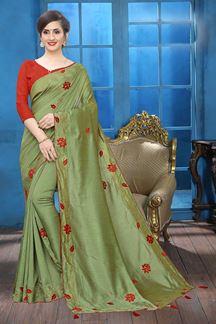 Picture of Pista Green Colored Designer Two-tone Silk Saree