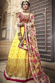 Picture of Exclusive Yellow Color Lehenga Choli In Net Fabric With Embroidery Work