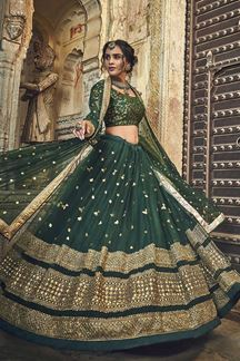 Picture of Exclusive Net Fabric Dark Green Color Lehenga Choli With Embroidery Work