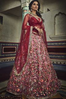 Picture of Occasion Wear Lehenga In Art Silk Pink Color Embroidery Work