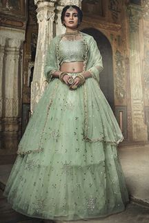 Picture of Embroidered Art Silk Sea Green Color Lehenga With Embroidery Work