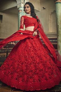 Picture of Red Color Net Designer Lehenga Choli With Embroidery Designs