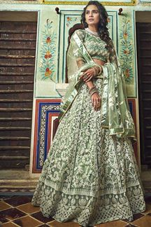Picture of Sea Green Color Net Embroidered Party Wear Lehenga With Enchanting Blouse