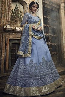 Picture of Embroidery Designs On Grey Color Net Fabric Wedding Wear Lehenga