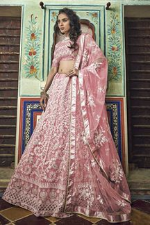Picture of Peach Colored Net Fabric Designer Lehenga With Embroidery Work
