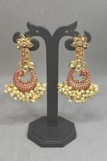 Picture of Peacock Design Gold Finish Pearls Styled Jumki Earring