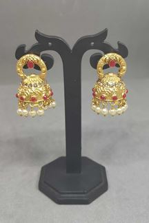 Picture of Red Color Golden Jumki Earring