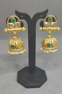 Picture of Green Colour Matte Finish Simple Jhumka Earring