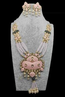 Picture of Flourishing Pink & Green Color Stone Studded Bridal Necklace Set