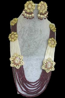 Picture of Maroon Beads Worked Designer Necklace Set With Green Stones