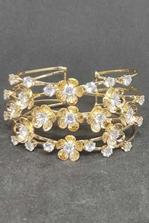 Picture of Fascinating clear stone work Floral Bracelet With Gold Finish