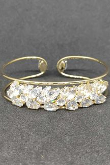Picture of Uncut Crystal Diamonds Golden Bracelet