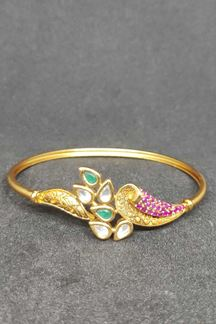 Picture of Contemporary Traditional Kundan Stone Bracelet In Green & Pink Color