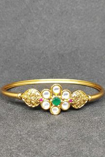 Picture of Openable Kundan Stone Bracelet In Pink & Green Color