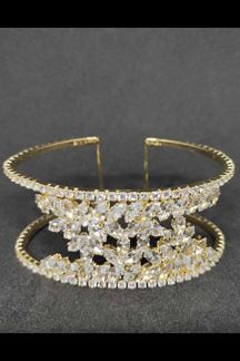 Picture of Cut Work Rhinestones Classic Two-Toned Bracelet