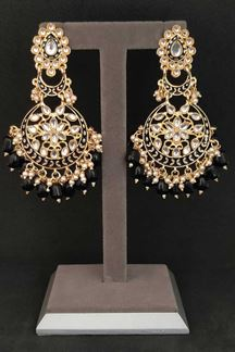 Picture of Delightful Black Stone Pearls Earrings In Chandbali Design