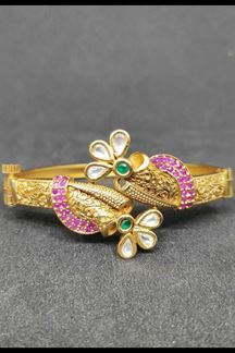 Picture of Half Floral Adjustable Bracelet In Pink & Green Stones