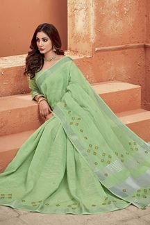 Picture of Embroidered Light Green Designer Saree