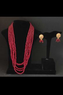 Picture of Distinguished Maroon Beads Work Designer Necklace Set