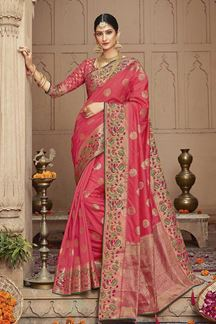 Picture of Gorgeous Pink Colored Party Wear Saree