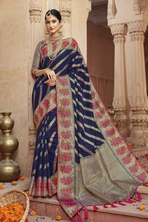 Picture of Endearing Blue Color Designer Saree