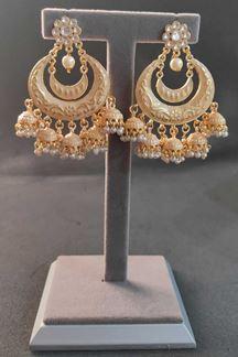 Picture of Gold Rodium Polish Chandbali Earrings in Kundan