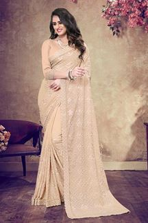 Picture of Charming Beige Colored Designer Saree