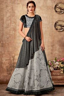 Picture of Unique Grey & Black Designer Lehenga Choli