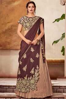 Picture of festive Maroon & Beige Colored Designer lehenga Choli
