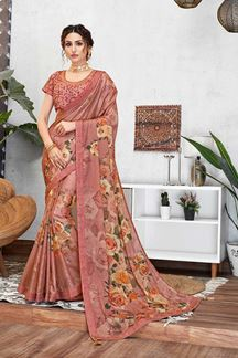 Picture of Pink Colored Sequined Silk Georgette Saree
