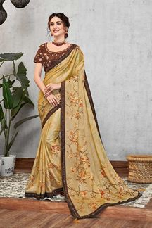 Picture of Yellow & Brown Sequined Silk Georgette Saree