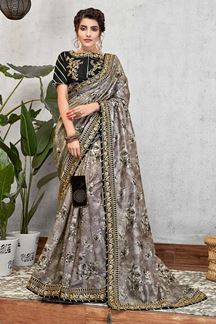 Picture of Grey & Black Digital Print Silk Saree