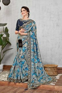 Picture of Blue Digital Print Silk Saree