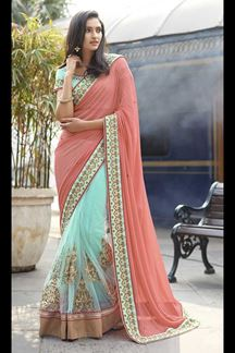 Picture of Graceful Peach & Sky Blue Colored Designer Saree