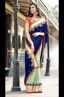 Picture of Arresting Blue & Sky Blue Colored Party Wear Designer Saree
