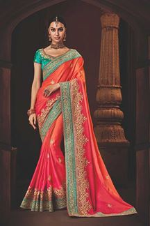 Picture of Imposing Pink & Orange Colored Designer Saree
