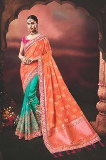 Picture of Auspicious Orange & Firoji Designer Traditional Saree