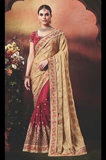 Picture of Pretty Chikoo & Maroon Colored Designer Saree