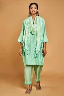 Picture of feminine light Green Cotton Suit For Summer Wear