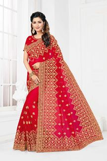 Picture of Trendy Red Colored Wedding Wear Designer Net Saree