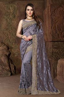 Picture of Transitional grey designer satiny saree