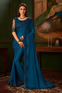 Picture of Ravishing Blue Colored Classic Designer Saree