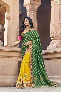 Picture of Embroidery Green & Yellow Color Designer Saree