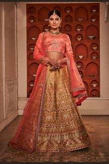 Picture of Beige Color Silk Fabric A line Lehenga Choli