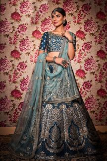 Picture of Navy Blue Color Designer Silk Lehenga Choli
