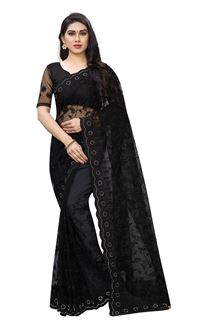 Picture of Staring Black Color Net Designer Saree