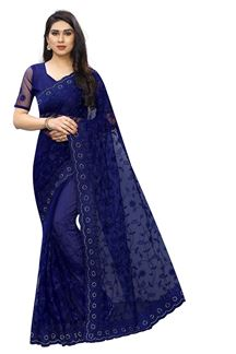 Picture of Modernistic Embroidered Blue Classic Saree